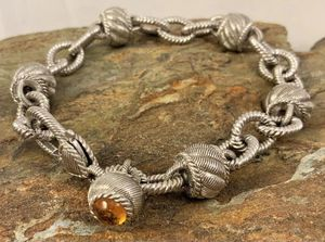 Judith Ripka Sterling Link and Textured Bead Bracelet with Citrine Charm for Sale in Roswell, GA