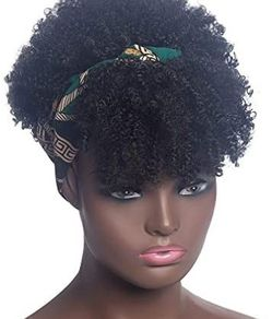 Afro Kinky Curly Wig with Bangs on Headband for Sale in Fresno,  CA