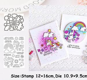 Rainbows & Unicorns 28pc Die & Stamp Set for Sale in Elizabethton, TN