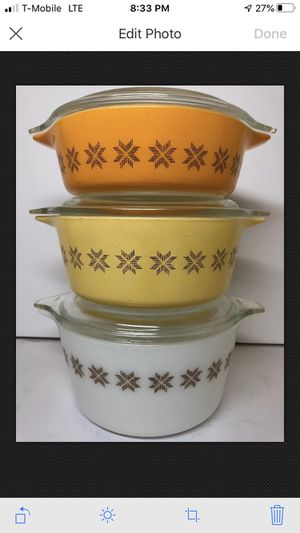 Pyrex White, Yellow and Orange Bowl #473/2/1 Made In USA for Sale in Garland, TX
