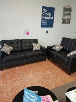 [F7855] 2-PCS SOFA LIVING ROOM SET IN BONDED LEATHER [ONLY $50 DOWN AND 90 DAYS TO PAY SAME AS CASH] for Sale in Irving,  TX