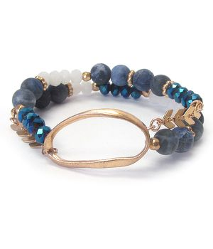 *NEW ARRIVAL* Oval Pendant and Blue Bead Double Stretch Bracelet *See My Other 200 Items* for Sale in Palm Beach Gardens, FL