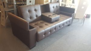 Brand new brown faux leather storage sofa futon for Sale in San Diego, CA