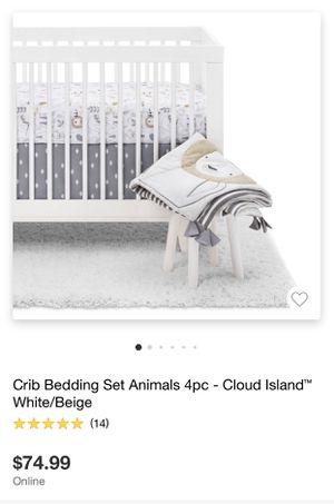 Cloud Island 4pc Crib Bedding Set Animals White Beige for Sale in Covina, CA