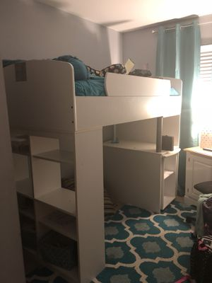 Complete girls loft twin bed room teal & white w/ extras for Sale in Essex, MD