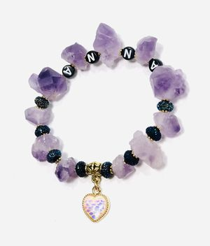💞 One of the Kind Women's Handcrafted Name Personalized Natural Gemstone Amethyst Stretchy Bracelet Anklet Heart Charm 💞 for Sale in Henderson, NV