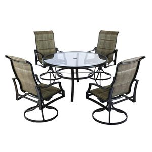 New 5-Piece Padded Sling Patio Dining Set with 53 in. Glass Top ☆Pick up only☆ for Sale in Phoenix, AZ