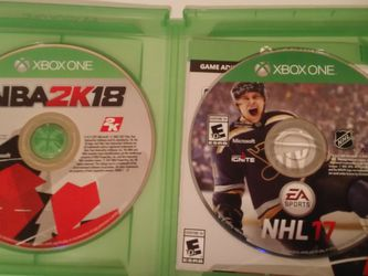 NBA 2K18 + NHL17 Xbox one games for Sale in Rochester,  MI