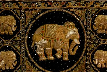 Vtg. Embroidered & Embossed Thai Elephants Artisan Kalaga Tapestry W Hanging Rod for Sale in Nashville,  TN