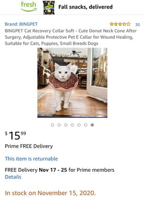 BINGPET Cat Recovery Collar Soft - Cute Donut Neck Cone After Surgery, Adjustable Protective Pet E Collar for Wound Healing, Suitable for Cats, Puppi for Sale in San Jacinto, CA
