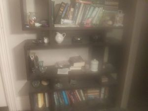 Black bookshelve great shape unusual looking for Sale in Medford, MA