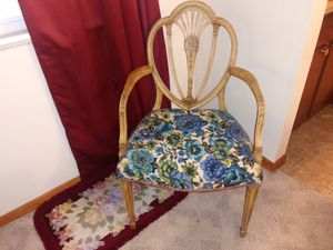 Wooden accent arm chair with blue floral design for sale for Sale in St. Louis, MO