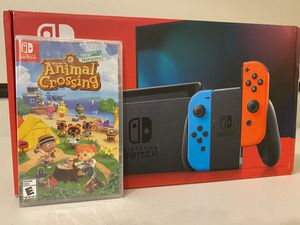 BRAND NEW Nintendo Switch Neon Blue and Red Joy Con w/ Animal Crossing Game for Sale in Denver, CO