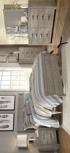 Brand New 4-Pc Gray Panel Queen & King Bedroom Set, Bed dresser mirror nightstand✔️ for Sale in Pasadena, TX