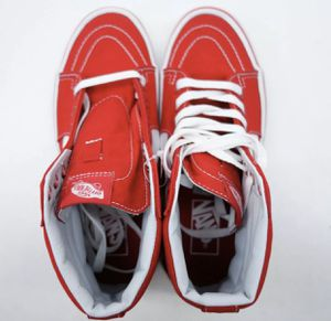 Vans US 7.5 Mens Women's US 9 Sk8-Hi Formula Red Skater High Top Classic Canvas Shoes for Sale in Hialeah, FL