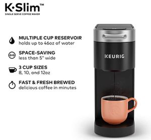 Keurig K-Slim Coffee Maker, Single Serve K-Cup Pod Coffee Brewer, 8 to 12 oz. Brew Sizes, Black for Sale in Seattle, WA