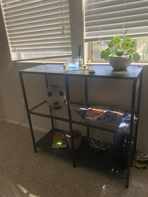 3 level console table black and dark brown wood with the middle shelf being glass for Sale in San Diego, CA