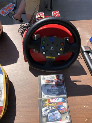 Momo PC steering wheel and two NASCAR games for Sale in Umatilla, OR