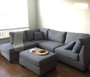 Contemporary grey linen sofa sectional with ottoman 104x75 for Sale in Fort Lauderdale, FL