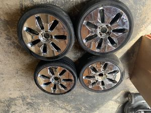 Four 4 lug universal 18 inch chrome mirror rims with 225/40zr18 inch tires on all four rims for Sale in Seattle, WA