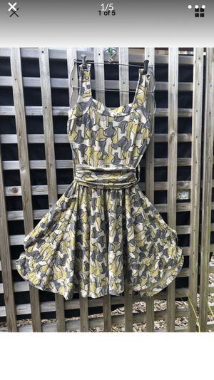Effie's Heart Dolce Vita dress yellow and grey print vases sundress cotton knit for Sale in Portland, OR