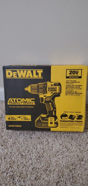 DEWALT ATOMIC 20-Volt MAX Lithium-Ion Brushless Cordless Compact 1/2 in. Drill Driver w/ (2) Batteries 1.3Ah, Charger & Bag for Sale in Bakersfield, CA