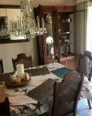 Table and chairs, chins cabinet, mirror for Sale in Crofton, MD