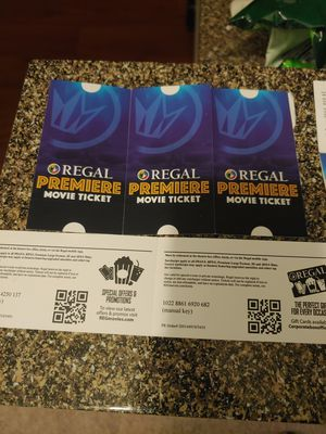 Movie Tickets, Regal Cinemas. Great Deal! Any movie any date, no expiration! for Sale in Sudley Springs, VA