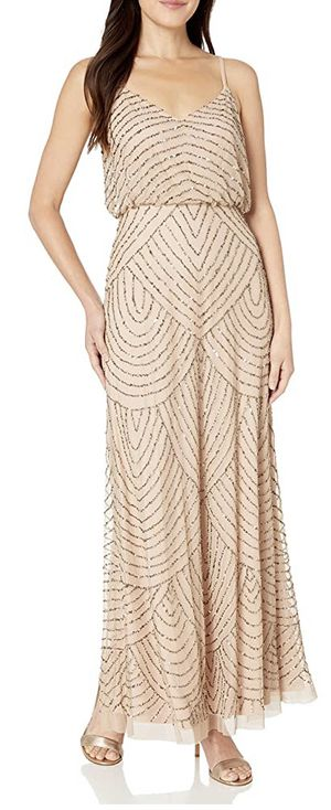 Adrianna Papell Art deco blouson beaded gown for Sale in Brunswick, OH