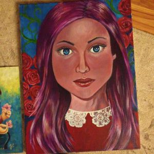 Original painting of woman with roses on 16x20 canvas for Sale in Newburyport, MA