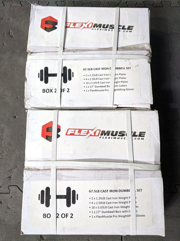 NEW - 135lb Adjustable Dumbbells Set