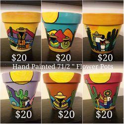 "71/2"" Hand Painted Flower Pots for Sale in Tucson,  AZ"