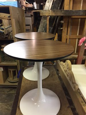 2 walnut topped end tables tulip style bases for Sale in Brooklyn, NY
