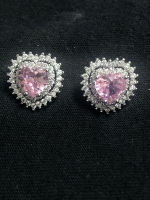 Sterling Silver Ping Heart CZ/ Crystal Earrings for Sale in Las Vegas, NV