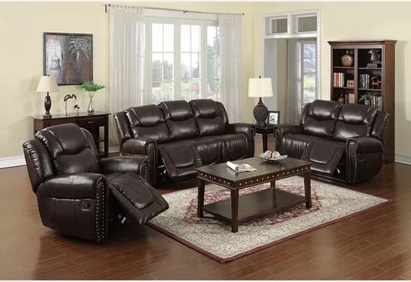 New 3pc Reclining set Brown bonded leather