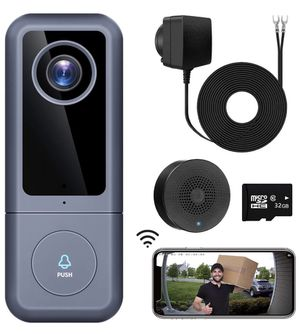 WiFi Video Doorbell Camera, XTU Doorbell Camera with Chime, 2K Ultra HD, 2-Way Audio, Cloud Storage and 32GB SD Card Included, Easy Installation (Exi for Sale in Alhambra, CA