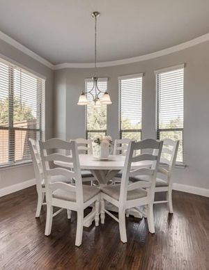 FARMHOUSE!! Solid wood breakfast table and six wood chairs. for Sale in Rockwall, TX