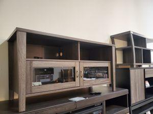 Melina 2 Glass Door TV Stand up to 55in TVs, Distressed Grey for Sale in Norwalk, CA