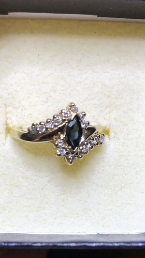 14K real yellow solid gold diamond sapphire ring size 6.5 NEW for Sale in Norwalk, CA