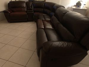 Leather sectional with recliners and Cupholders( I can deliver) for Sale in Phoenix, AZ