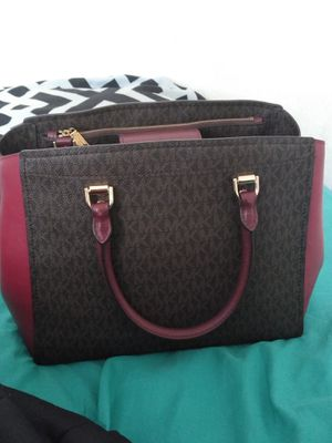 Michael Kors burgundy and maroon and brown purse for Sale in Tampa, FL