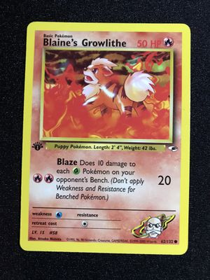 Blaine's Growlithe Gym Hero 1st Edition #62 for Sale in Los Angeles, CA