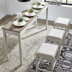 Skempton White/Light Brown 4-Piece Counter Table and Bar Stools for Sale in Cedar Park, TX