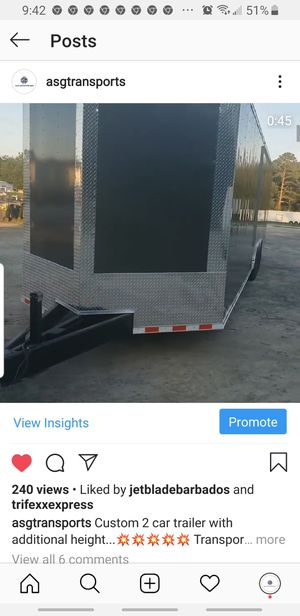 34 ft V nose custom car trailer with additional height for Sale in Houston, TX