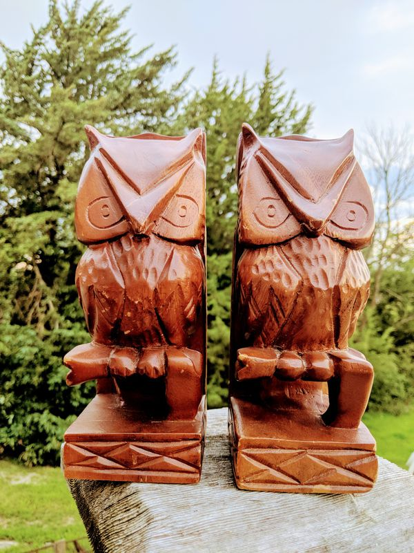 Faith Woodcraft Meda Wooden Owl Bookends Vintage