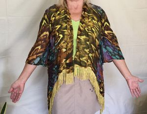 ALBERTO MAKALI multi-colored silk fringed cardigan shawl from NORDSTROM (Size S) for Sale in Las Vegas, NV
