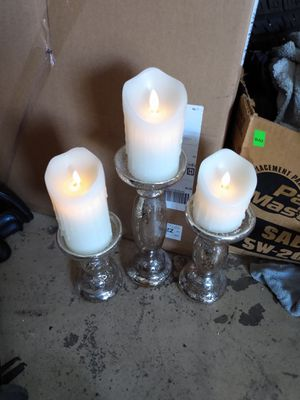 GLASS PILLAR CANDLE HOLDERS for Sale in Bartlett, IL