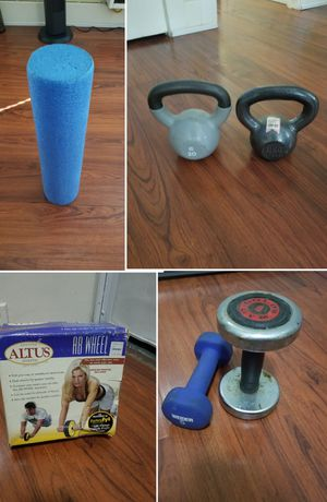 Prices in ad kettle bells Ab roller weights barbell for Sale in Long Beach, CA