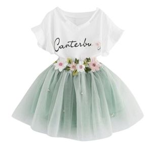 letter Printed Tee+Flower embroidery Tutu Skirt 2Pcs Baby Girls Clothes Set for Sale in Compton, CA