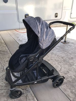 Double stroller in perfect condition the other seat is inside my storage we will meet there black and grey color no rips , not broken for Sale in Wildomar, CA